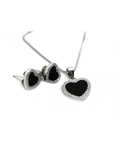 NALBORI orecchini e collana con ciondolo cuore in argento 925 onice e