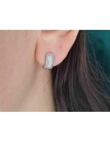 orecchini cerchi argento 925 piccoli 5 file di zirconi 12mm scattino bombati NALBORI
