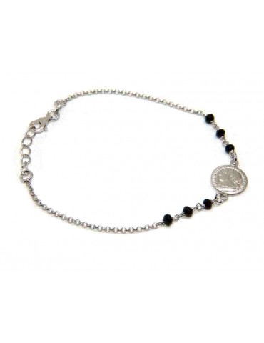 braccialetto tutto argento 925 con moneta e cristalli neri nalbori