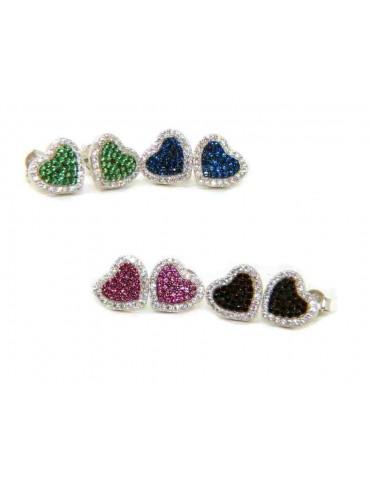 orecchini donna a cuore in argento 925 zirconi colorati pave' marca NALBORI