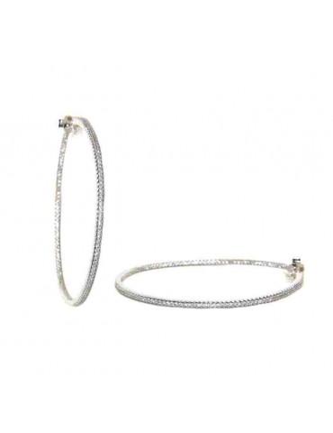Orecchini pietre zirconi dentro fuori cerchio argento 925 5cm grandi marca nalbori