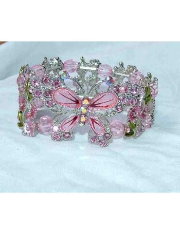 bracciale elastico donna perle di lucite strass e farfalla smaltata