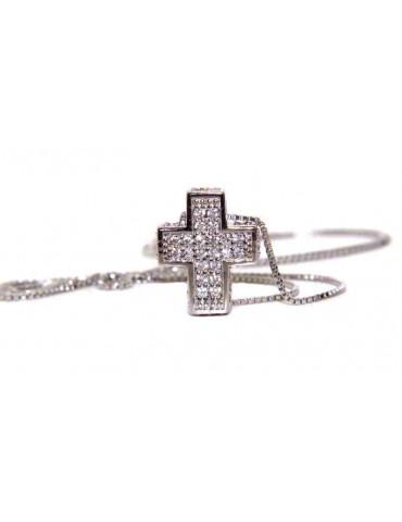 Collana argento 925 croce 3D uomo donna pavè di zirconi marca nalbori oro bianco