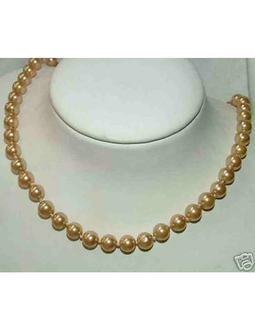 collana false perle infilata a nodini arancio rosso porpora oro