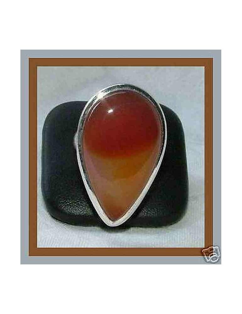 anello etnico agata corniola a goccia argento 925 Misura19
