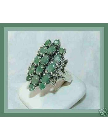 925 sterling silver ethnic ring marcasite emerald root size 16