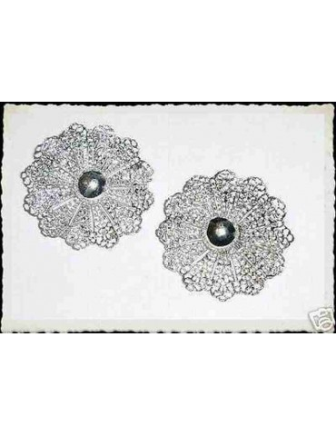 vintage silver rose window clip earrings Sarah Coventry antique certificates
