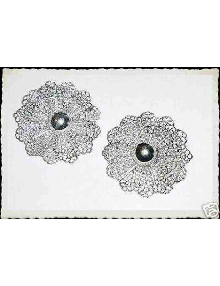 orecchini clip vintage rosone argento Sarah Coventry certificati antichi