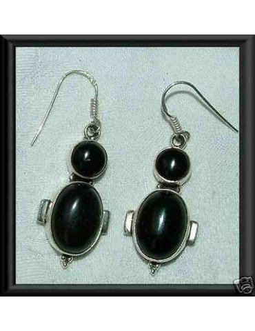 orecchini etnici argento 925 con DOPPIA ONICE