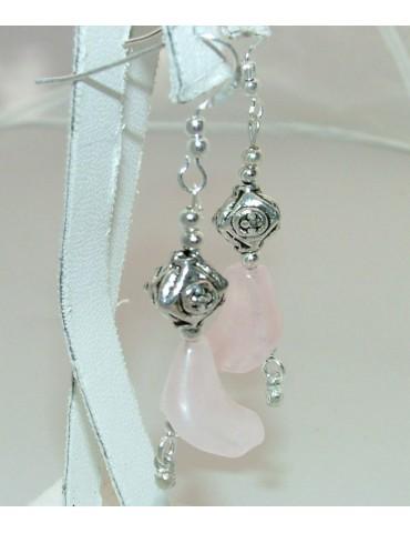 925 silver ethnic earrings with rose quartz stone pendants in the shape of a LILY