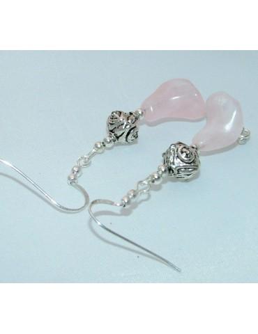 orecchini etnici argento 925 ciondoli pietra quarzo rosa a forma di GIGLIO
