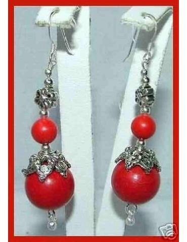 orecchini etnici argento 925  con perle calibrate pasta di corallo rosso