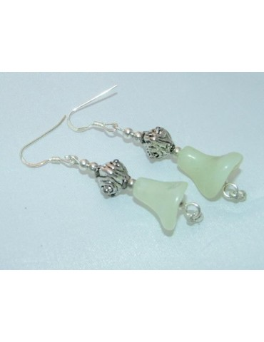 925 silver ethnic earrings with green-white nephrite jade lily pearls