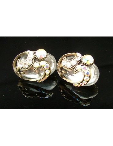 Jewelery earrings clips silver and antiqued carbochon resin and rhinestones