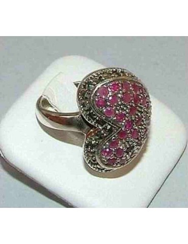925 silver ethnic ring 925 silver with Ruby root pavè HEART size 19