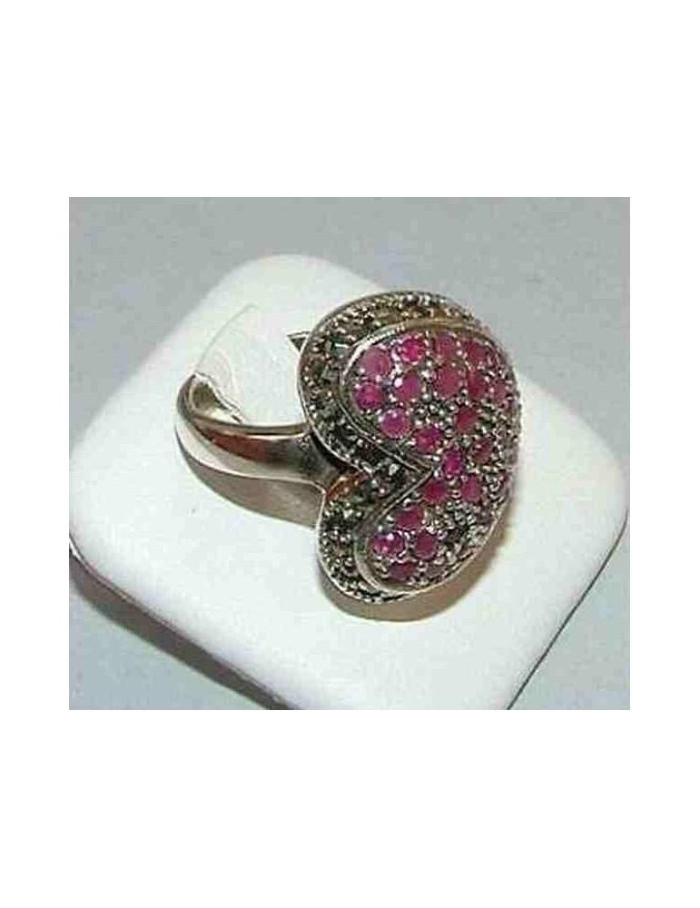 anello etnico  argento 925  Argento 925 con pavè radice Rubino a CUORE misura 19