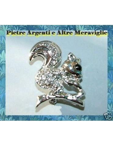 rhinestone squirrel silver jewelry brooch