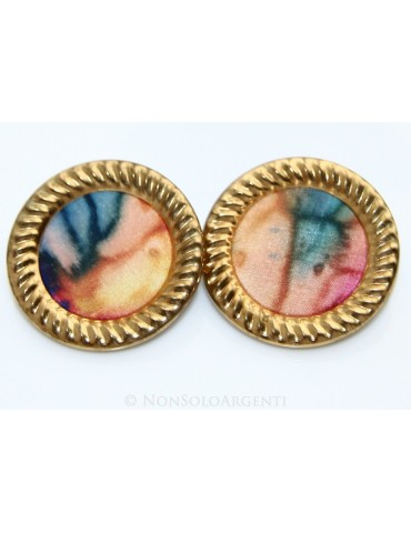 VINTAGE orecchini donna tondi disco disegno su stoffa