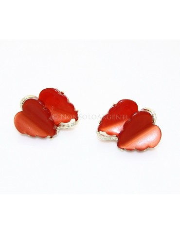 VINTAGE women's golden earrings clips with double leaf in red lucite