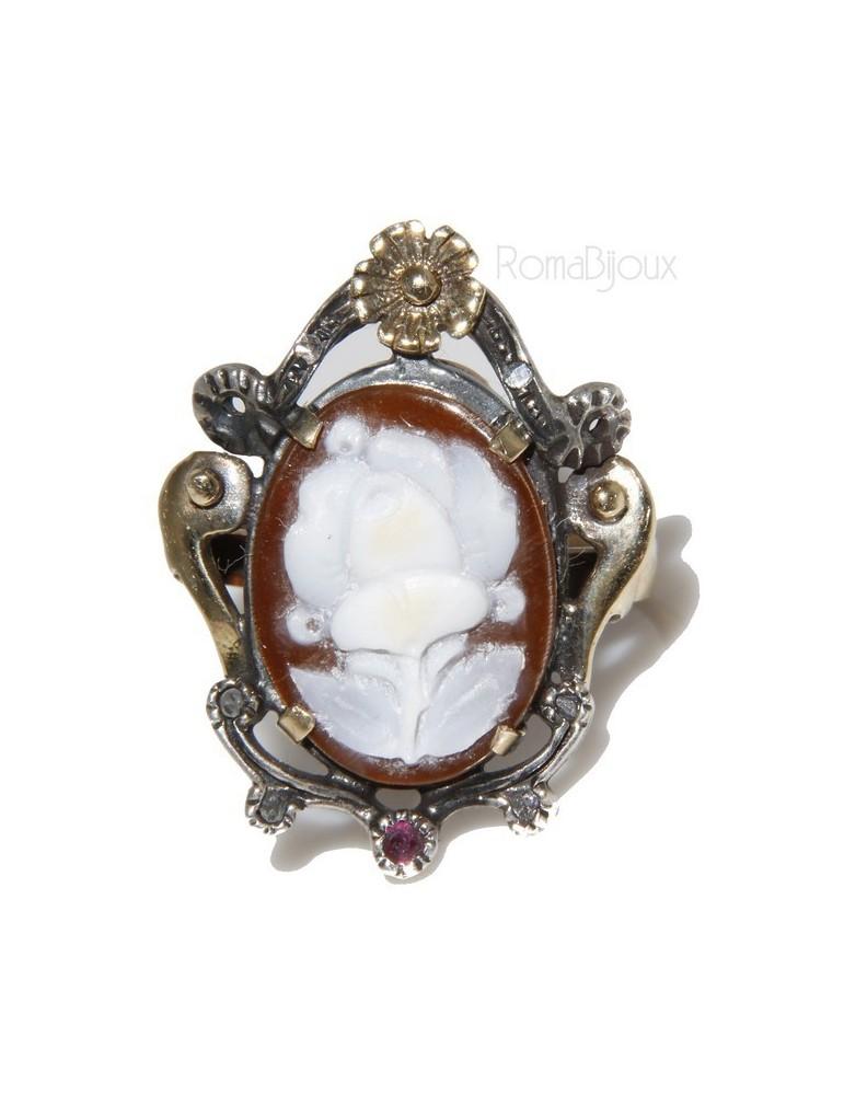 Oro giallo 9kt e Argento 925 anticato : Anello donna barocco realizzato a mano con cammeo ovale e radice di rubino mis 16/17