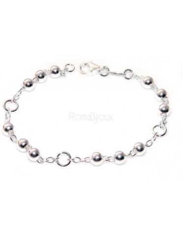 Bracciale rosario uomo o donna in Argento 925 croce liscia rod Oro bianco palline 4 mm mis 17