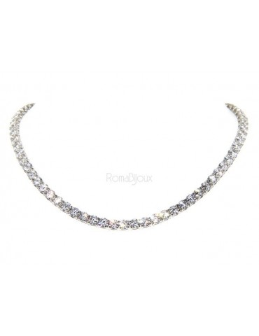 925: Collier Ladies necklace model Tennis with white cubic zirconia jaws 5 mm brilliant cut