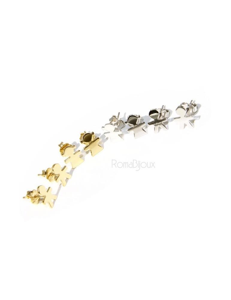orecchini Argento 925 : bambino bimbo o Bambina bimba Oro Giallo bianco chiaro e satinato