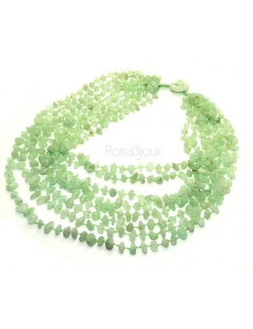 Collana da Donna collier cleopatra 8 fili calcedonio verde chiaro