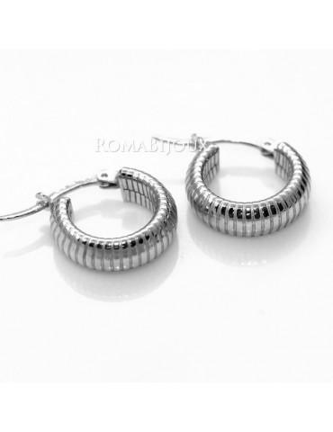 Argento 925 : orecchini donna uomo anelle cerchi scattino lavorati righe orizzontali