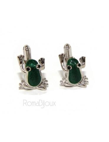 Gemelli Uomo rana ranocchio per camicia in Argento 925 smalto verde realizzati a mano