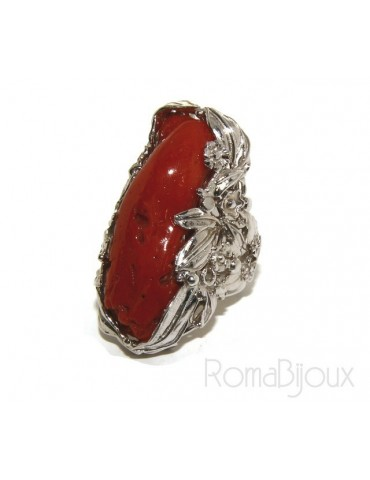925: big ring adjustable Baroque woman handmade with genuine natural red coral