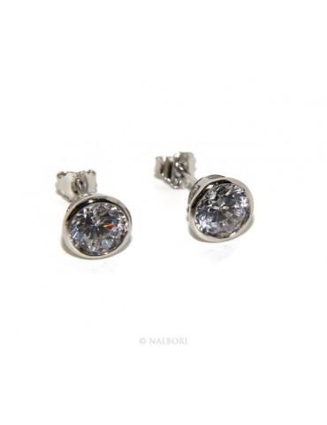 Argento 925 : Orecchini cipollino 6 mm punto luce con zircone. per uomo e donna