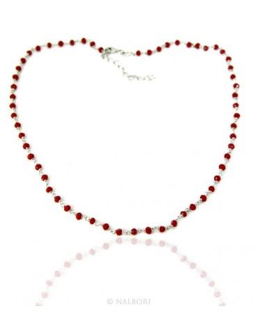 Collana uomo donna Argento 925 Con cristallo rosso 3,5 mm lavorazione rosario marsigliese fatta a mano 45+5