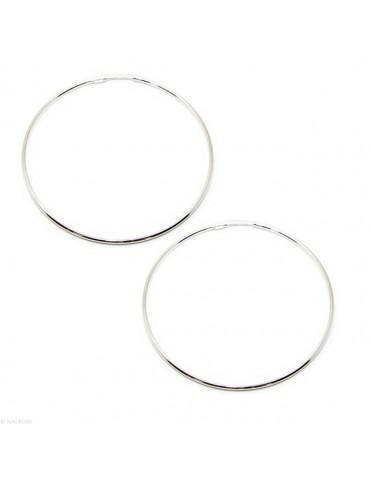 Argento 925 : orecchini donna anelle cerchi boccole lisce classiche 71 mm argento chiaro