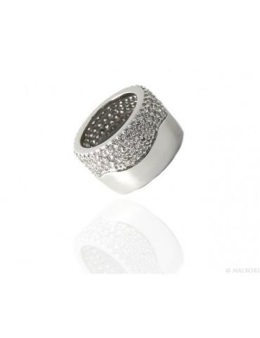 Argento 925 Rodiato : anello donna fascia fascione tubo mezzo pavè zirconi eternity misura 13