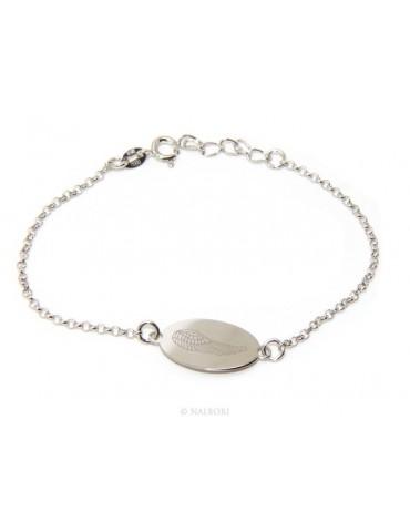 SILVER 925 cuff bracelet 'man woman oval plate laser engraving angel wings cm 16.00 - 18.50