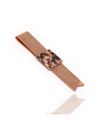 Money Clip stops NALBORI ® made of hypoallergenic copper for man with brown & cream enamel