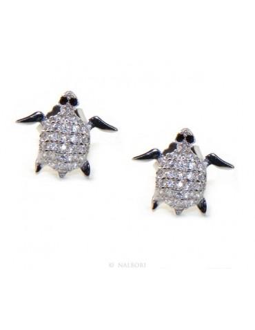 orecchini da donna in argento 925 a forma di tartaruga con pavè microsetting di piccoli zirconi bianchi taglio brillante