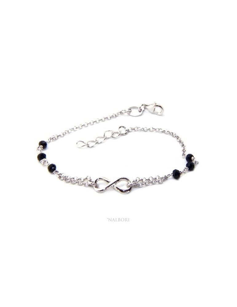 Bracciale uomo donna Argento 925 lavorazione a rosario cristallo nero con 1 elemento infinito 17,50-19,50 cm