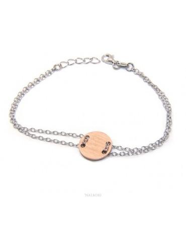 Bracciale uomo donna Argento 925 con bottone centrale rosa satinato 17,00 - 20,00 cm