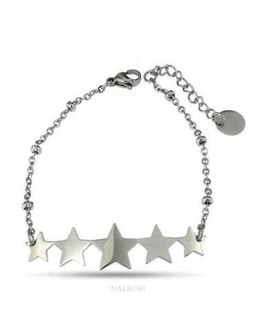 NALBORI bracciale donna acciaio anallergico con centrale 5 stelle