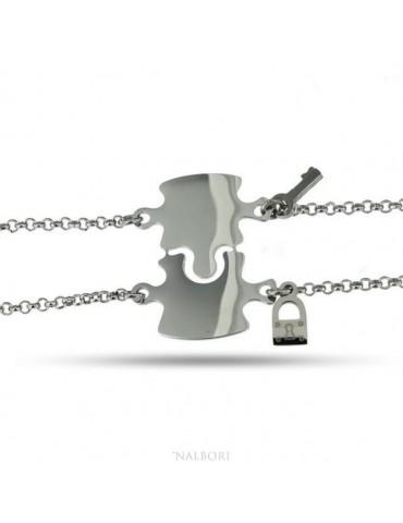 NALBORI bracciale acciaio anallergico doppio lui lei puzzle lucchetto chiave