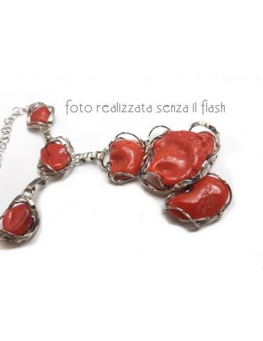 Collana collier argento 925 linea capri con grandi gemme corallo verace rosso del mediterraneo