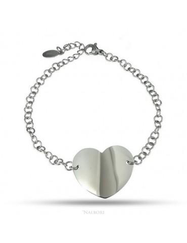 NALBORI bracciale acciaio anallergico rolo' con grande cuore al centro