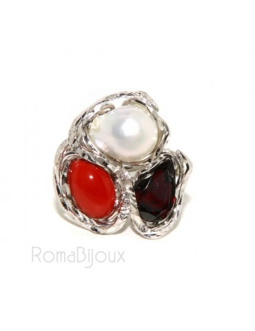 Silver 925: Adjustable woman ring handmade with red coral gem veracious baroque pearl and garnet