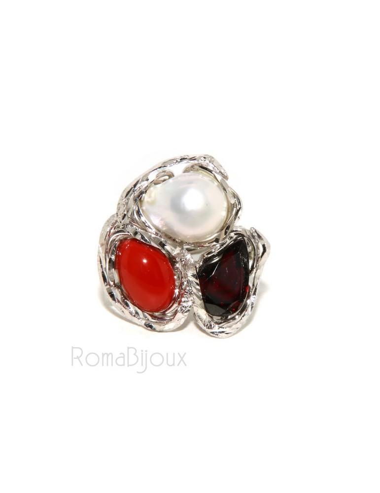 Argento 925 : Anello donna regolabile realizzato a mano con gemma di corallo rosso verace perla barocca e granato