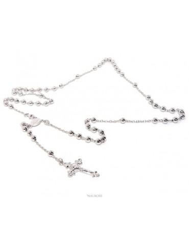 Collana rosario uomo o donna in Argento 925 croce lavorata palline 5 mm 67 cm Rodiato nalbori