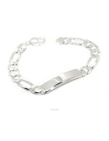 NALBORI Bracciale con targa per uomo in argento 925 chiaro, massiccio con catena figaro da 10 mm circonferenza polso 20