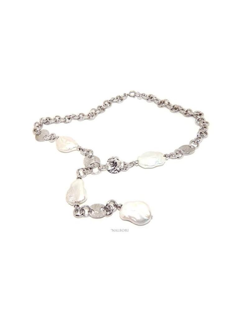 Collana collier argento 925 da donna con grandi perle barocche naturali nalbori
