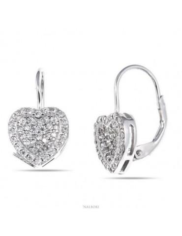 NALBORI Orecchini donna a monachella in argento 925 cuore micropavè di zirconi 10mm